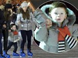 Mirror image: Coleen Rooney stepped out in identical outfit to her friend to take son Kai ice skating in London