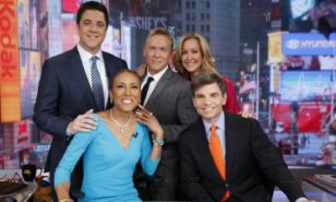 Deals: Robin Roberts, front left, has reportedly signed a new deal with ABC worth up to $14 million. Her co-hosts Josh Elliott, top left, and Lara Spencer, top right, are also in the process of negotiating deals