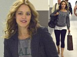Fresh faced beauty: Actress Rachel McAdams looked flawless without make up at LA X