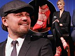 Scarlet woman! Margot Robbie wears racy red shoes as she attends The Wolf Of Wall Street event with Leonardo DiCaprio
