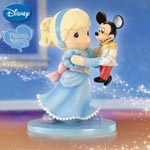 "Precious Moments Disney Mickey Mouse Figurine: Dance Until Your Dreams Come True - Exclusive First-ever Precious Moments® and Disney Mickey Mouse Figurine! Mickey and a Dress-up ""Cinderella"" Go Dancing"