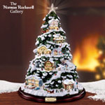 Norman Rockwell Village Christmas Illuminated Artificial Tabletop Christmas Tree - Exclusive Norman Rockwell Collectible Tabletop Christmas Tree a Collecting First! Lights Up!