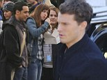 New father Jamie Dornan gets back to work shooting Anastasia's graduation on Fifty Shades set... as fans get their first look at Victor Rasuk as photographer José