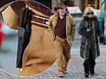 Kurt Russell steps out in cowboy hat for shopping trip with Goldie Hawn while carrying KNIFE in holster