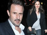 Looking swell! David Arquette's girlfriend Christina McLarty shows off prominent baby bump in tight T-shirt and leather trousers during romantic dinner