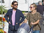 New addition: Jason Schwartzman, wife Brady and daughter Marlowe, shown together in Los Angeles in August, will welcome a new baby next year