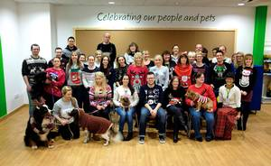 Christmas Jumper picture of Pets at Home head office employees and their pets dressed up for the occasion too