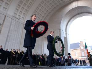 Prime Minister David Cameron and Irish Prime Minister Enda Kenny laid wreathes at the Menin Gate in Ypres, Belgium, yesterday in memory of British and Irish First World War combatants