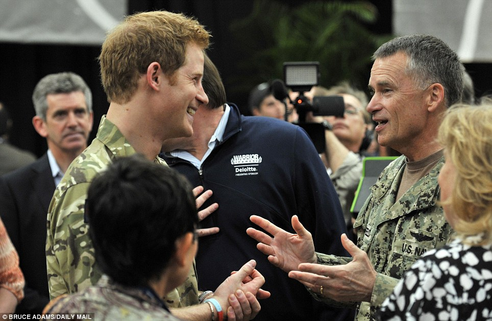 Greet: Harry meets key figures from the US Olympic committee at a reception and brunch at the start of the Warrior Games, United States Olympic Training center