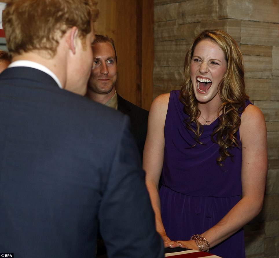 Making small-talk: Harry asked Franklin, attending with her parents, for a rundown of her medals