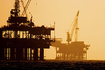 Oil Platforms at Dusk