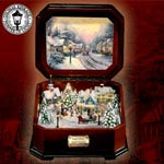 Thomas Kinkade Holiday Memories Illuminated Music Box - Limited Edition Exclusive Thomas Kinkade Christmas Music Box! First-of-its-kind Combines Illumination and Animation, Too!
