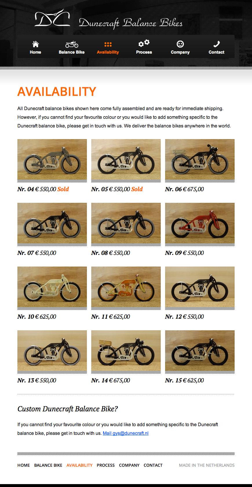 Dunecraft Balance Bikes Availability pagina