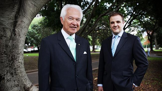Members of the Australian Mocharchist Leageu Professor David Flint and Jai Martinkovits. Alan Jones is the leagu...