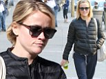 Reese Witherspoon sips on green drink as she treats herself to lunch with a friend after yoga