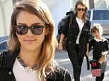Twinsies! Jessica Alba coordinates her b&w ensemble with daughter Honor for lunch in Beverly Hills
