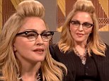 Madonna, don't preach! Pop queen dons spectacles and a pin stripe suit to talk politics on Saturday Night Live