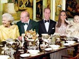 Formal but fun: We imagine the scene in the Sandringham dining hall at Xmas