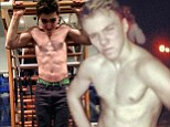 Rocco Ritchie shares topless snaps with fans as he works out at the gym
