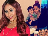 'My Cookie Monster': Doting mother Snooki spends day baking with son Lorenzo before getting glammed up to promote fake tan line