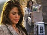 Eva Mendes is laden down with flowers and breadmaker at grocery store... but leading man Ryan Gosling is still nowhere in sight