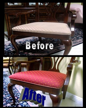 Complete Dining Room Chair Antique Furniture Restoration Reupholster custom upholstery