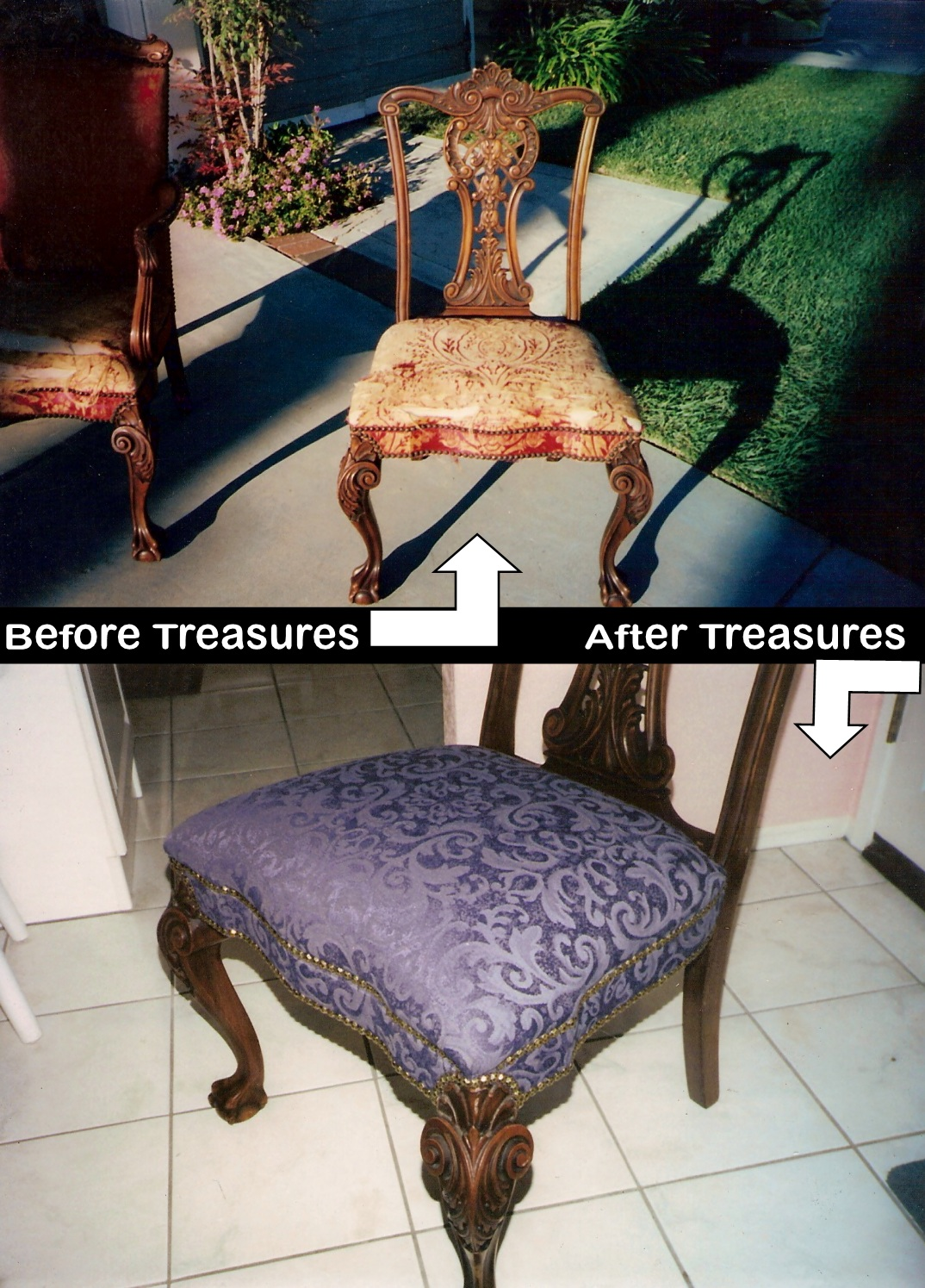 Dining Room Chairs Reupholstery Before and After