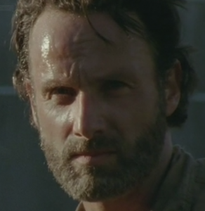 Rick stares at bloody eyed walker
