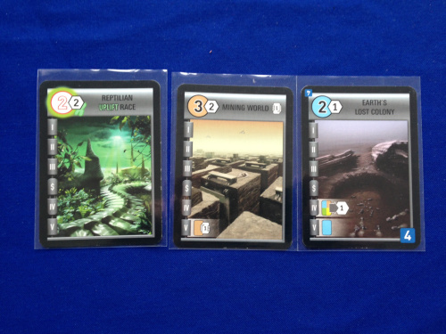 A sample of some World cards. Again, the cost is in the circle. This also says what kind of goods it will produce.