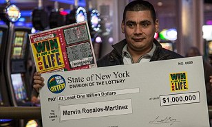 Seeing green: Marvine Rosales-Martinez, 27, who found a winning scratch-off card while blowing leaves at his landscaping job last fall, was allowed to collect his $1million prize this week