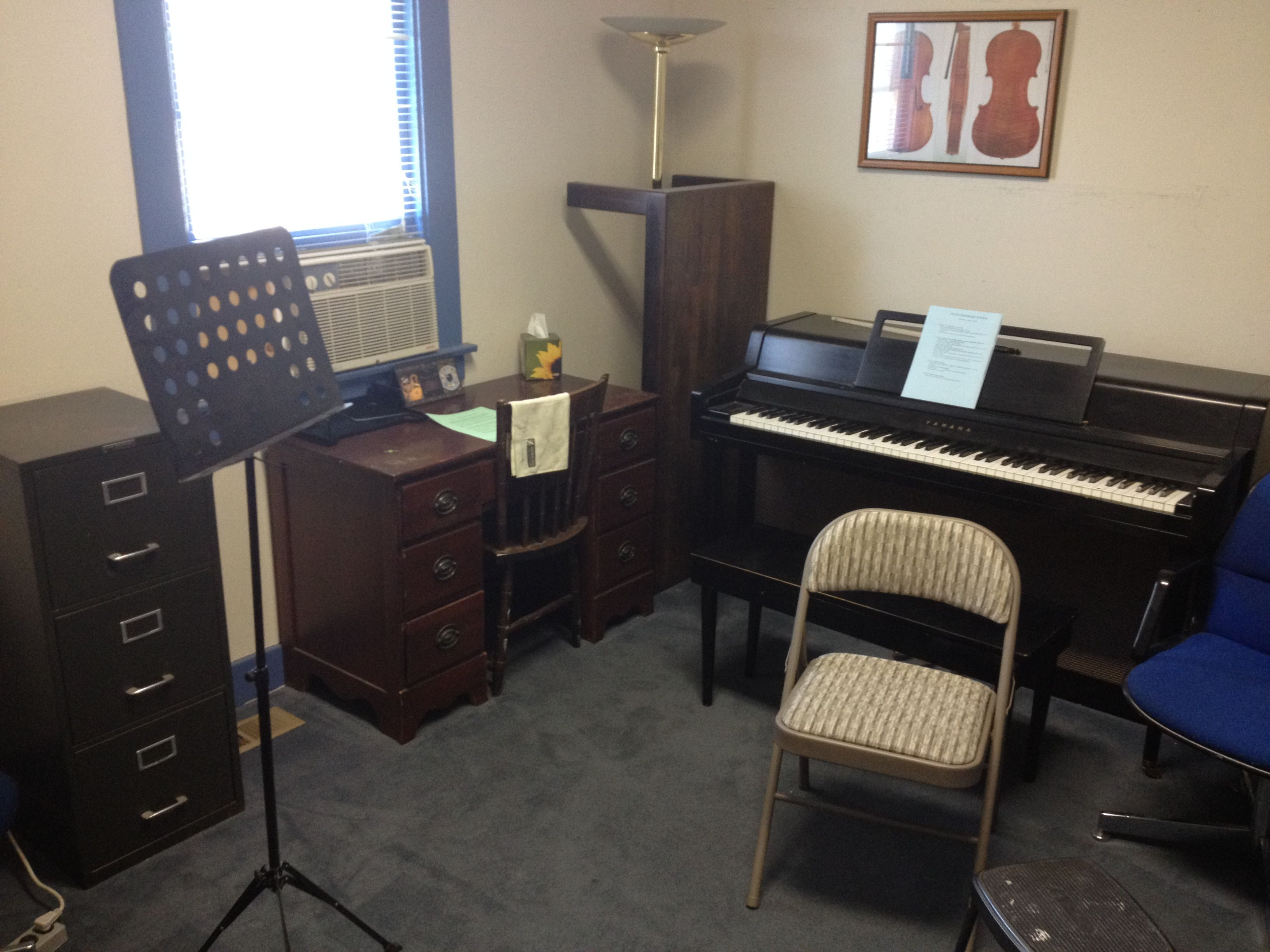 Our largest room available for teaching with carpeted floor and an upright piano.