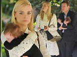 Picture perfect: Jaime King carries newborn son James as she joins husband Kyle Newman for lunch with Rachel Zoe