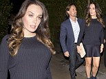 Back to black: Pregnant Tamara Ecclestone wears ribbed jumper over mini skirt for dinner with husband Jay and sister Petra