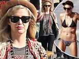 New curves: Ashlee Simpson displayed a fuller figure on Sunday (left) as she went shopping with her boyfriend Evan Ross in Los Angeles, California