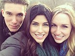 Embracing her friends: Jessica Lowndes has been taking selfies in New York City where she's holidaying with friends