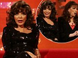Joan Collins makes rare appearance with sister Jackie on Graham Norton Show before fellow guests try on her wigs