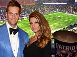 Steady rain: Gisele Bundchen shared a photo on Sunday showing husband Tom Brady playing under a heavy downpour at Gillette Stadium in Foxboro, Massachusetts