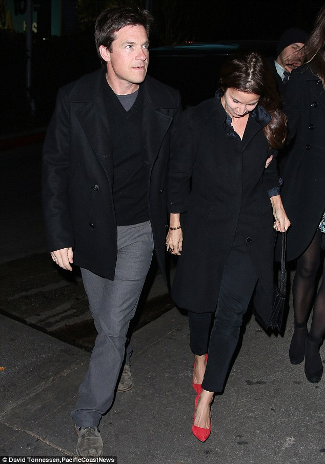 Looking sharp: Jason Bateman looked smart as he enjoyed a night out with his wife Amanda at the Chateau Marmont hotel in West Hollywood on Saturday