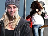 Make-up free Julianne Hough shows some barefaced cheek as she kisses gal pal on lunch outing