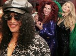 Ring out the old, rock in the new! Fergie stuns in black sequined one-piece as she joins Slash and wife Perla their disco-themed New Year's Eve bash