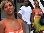 Slim and trim: Jay Z and Beyonce both looked incredibly lean as they stepped out in Miami on Sunday