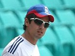England's captain Alastair Cook arrives from his team's training session at the Sydney Cricket Ground in Sydney, Australia