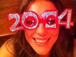Positive outlook: Elizabeth Hurley wore comedy glasses as she saw in 2014 with a message on her Instagram page