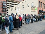 The line started in pre-dawn and grew far down the street before the Lodo Wellness Center, a pot dispensary in Denver, Colorado on January 1