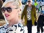 Mammoth in... Mammoth! Gwen Stefani dresses her huge bump in animal print sweater and keeps her pout perfect pink in ski resort