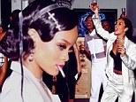 Having a spliffing time! Rihanna puffs on suspicious looking cigarette as she hosts New Year's Eve party