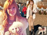 Winter beauty queen: Bella Thorne was seen out for a stroll and some shopping with her good gal pal, Olivia Grace, and dog Kingston, in Big Bear