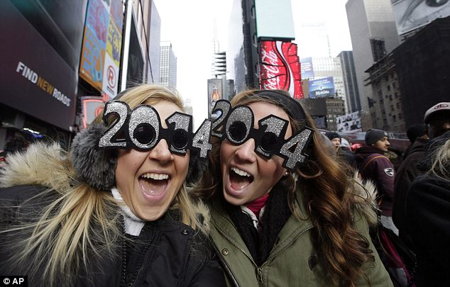 Excitement: About one million people from all over the world are expected to pack into the bow-tie-shaped stretch of streets in midtown Manhattan to see the crystal ball drop and count down to 2014