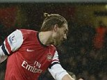 Not the answer: Nicklas Bendtner scored for Arsenal against Cardiff but is not a long-term solution