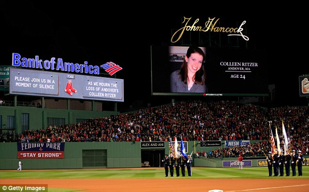 Honor: The Boston Redsox paused before Game One of the World Series at Fenway Park Wednesday night for a moment of silence to honor Ritzer
